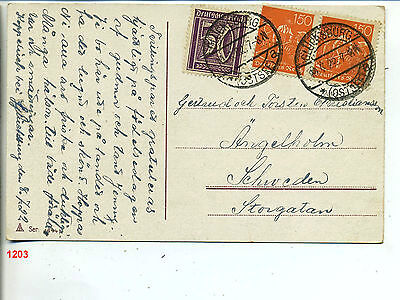 1203-GERMANY 1922 infla post card to Sweden