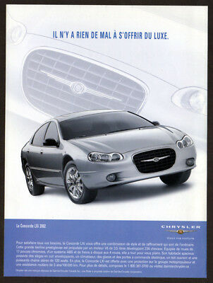 2002 CHRYSLER Concorde LXi Original Print AD - Silver car photo, French canadian