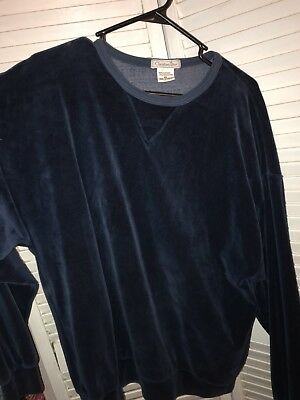 Christian Dior Velour Sweater-Navy Blue Pullover-Size XL-Fashion-Free Shipping
