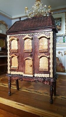 Miniature Artisan Hand Made Dollhouse for 1:12 Doll Amber Carved Bathroom WOW