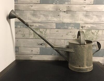 """Rare Antique Hodges Wotherspoon Watering  Pot Can Pail Galvanized Metal 32"""" Long"""