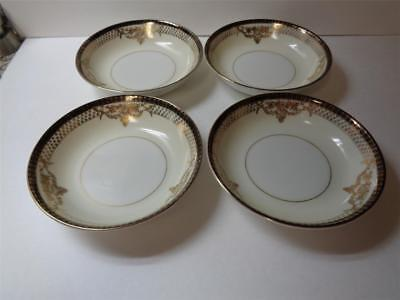 4 Vintage Fine China Japan Porcelain Ivory Gold Black Floral Berry Dessert Bowls