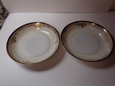 2 Vintage Fine China Japan Porcelain Ivory Gold Black Floral Coupe Soup Bowls