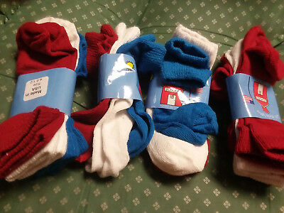 12 New Pairs Hanes Sz 4 - 6.5 Toddler Socks-Red. White & Blue