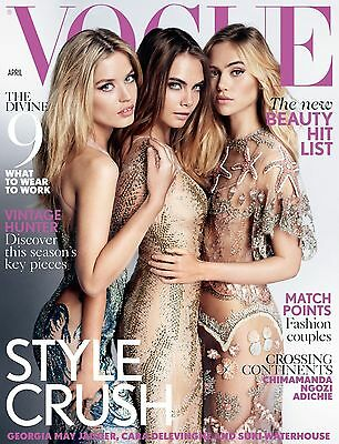 VOGUE British April 2015,Suki Waterhouse,Cara Delevingne,Georgia May Jagger NEW