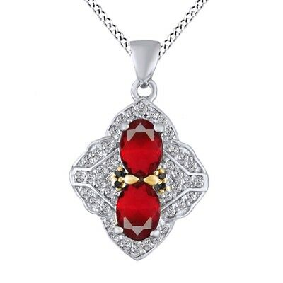 Red Ruby & White Sapphire Pendant Necklace 18k Gold Over 925 Sterling Silver