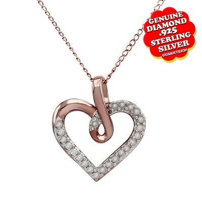 1/3 Ctw Natural Diamond Heart Pendant 14K Rose Gold Over 925 Sterling Silver