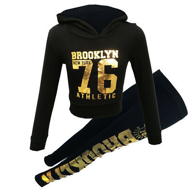 """New Girls Hooded Shiny """"Brooklyn 76 Athlectic"""" Tracksuit Top & Bottom Jogging"""