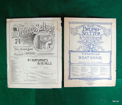 Two Very Early Advertising Bromo Seltzer Pieces Of Sheet Music -