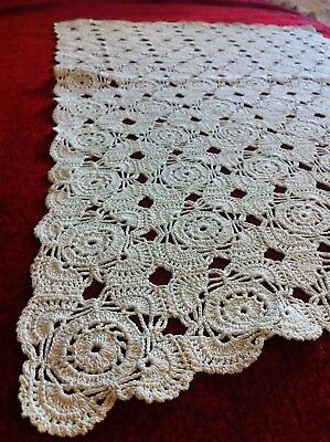 ANTIQUE VINTAGE GREEK HAND CROCHET TABLE COVER KNITTING 23,5 x 14,5 inches