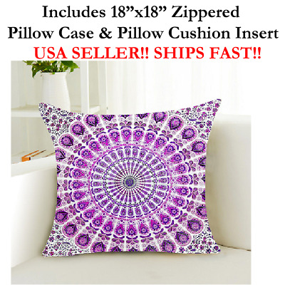 "18x18 18""x18"" Zen Mandala Bohemia Paisley Meditation Throw Pillow Case & Cushion"