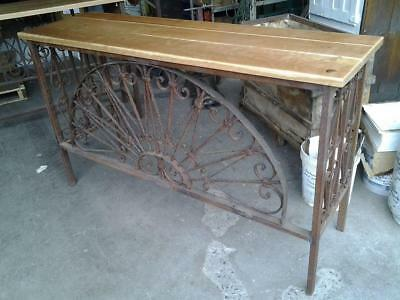 "Antique Wrought Iron Console Table with Cherry Top - 68"" x 39.25"" x 20"""