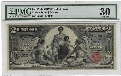 AC Fr 248 1896 $2 Silver Certificate EDUCATIONAL PMG 30, VERY FINE
