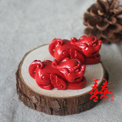 Natural Red Cinnabar Carving Lacquer Chinese Pi Xiu Yao Foo Dog Wealth Pendant