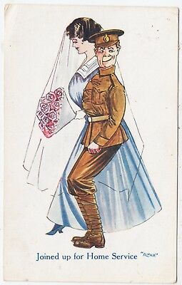 JOINED UP FOR HOME SERVICE - Soldier's Wedding - World War One postcard 1918
