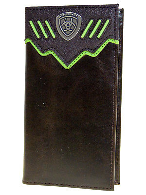 Ariat Mens Western Wallet/Rodeo Dk Brown Raised Green Stripes 11 Credit Card