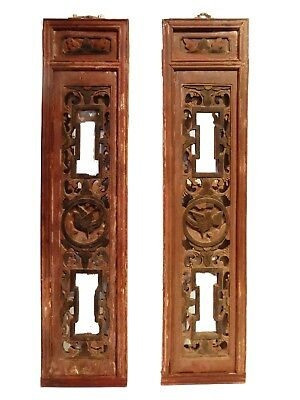 """Antique Chinese Wall Hangings Pair 37"""" H"""