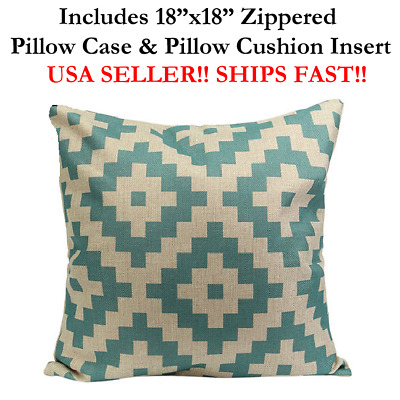 "18x18 18"" TURQUOISE HARLEQUIN AZTEC GEOMETRIC Throw Pillow Case & Cushion Mosaic"
