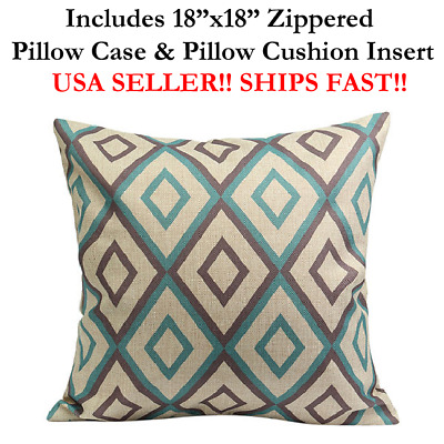 "18x18 18""x18"" 18in HARLEQUIN TURQUOISE GREY Throw Pillow Case & Cushion Mosaic"