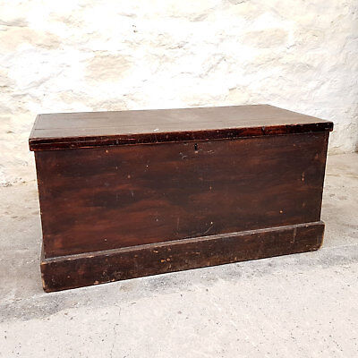 Late Victorian Stained Hardwood Chest / Box C1890 (Antique)