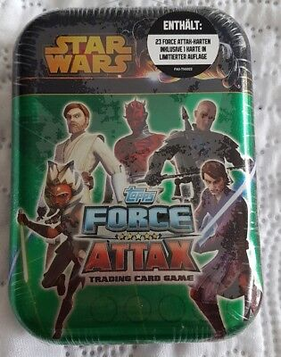 TOPPS STAR WARS FORCE ATTAX Serie limitierte Metallbox OVP