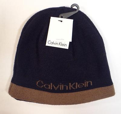 Calvin Klein Reversible Navy Blue   Brown Beanie Skull Cap Adult One Size  NWT f3e63cdb4d7