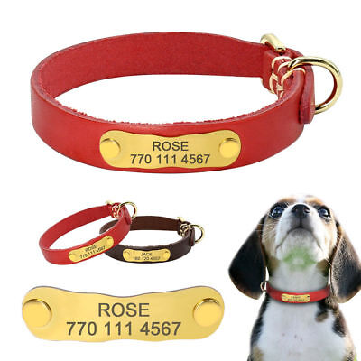 Personalized Leather Small Dog Collar Name ID Tags Engraved for Pet Puppy XS S