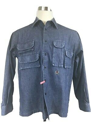 VTG Tommy Hilfiger Denim Jean Button Front Casual Shirt Size Medium Mens