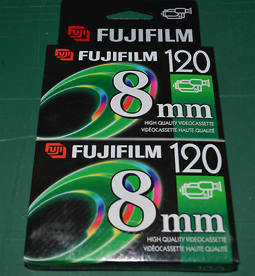 Fujifilm 8mm 120 SP Camcorder Video Cassette Tape Sealed NEW 2 pack