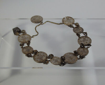 Ottoman Empire-Antique Turkish Ladies Silver Bracelet With Coins