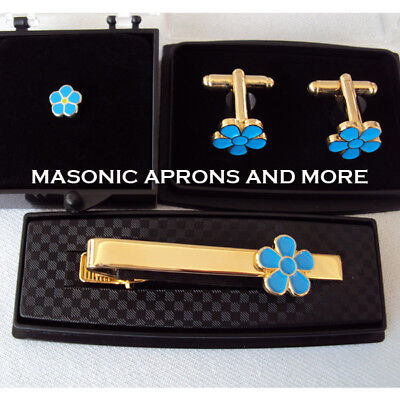 Masonic Forget Me Not Tie Clip, Cuff-links & Tie Pin Set (Boxed)