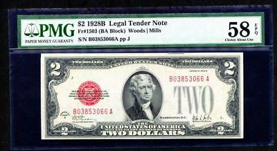 1928B $2 Legal Tender Note Pmg 58 Epq  Extremely Rare Key Date Please Lqqk!!