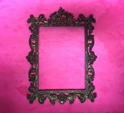 "Antique Vintage Ornate Heavy Brass Picture Frame 9.3"" x 7"" - Made Italy"