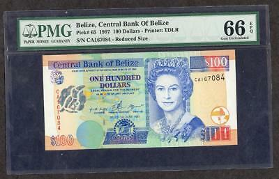 1997 Belize, Central Bank Of 100 Dollars Pck #65 Pmg 66 Epq  2 Of 2 Please Lqqk*