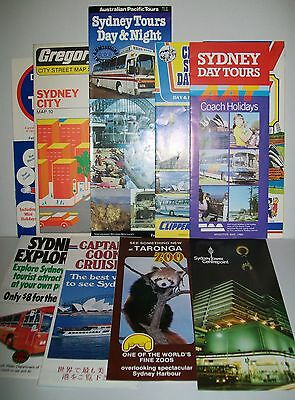 10 x 1980's SYDNEY (Australia) TRAVEL BROCHURES including Gregory's fold-out map