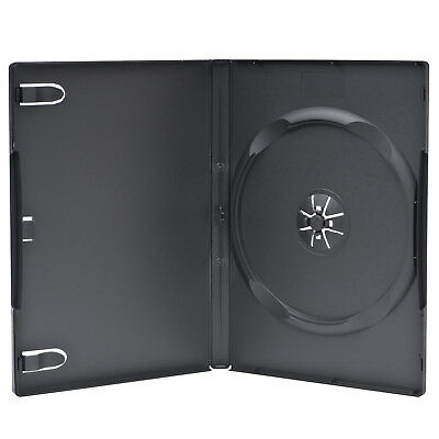 50 Premium Standard 14mm Black Single DVD Cases with Clear Overlay Holds 1 Disc