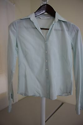 f68eacf35d5d0 Studio M Silk   Cotton Blend Light Green Button Down Blouse Size - Extra  Small