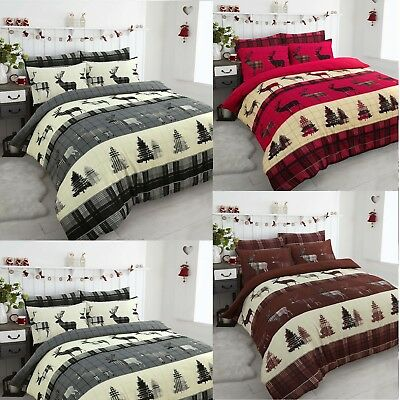 Christmas Gift Tartan Thermal Flannel Duvet Cover Set Brushed Cotton All Size