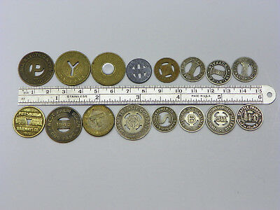 Vintage Lot of 16 Old Transportation  Tokens - Different Locations!