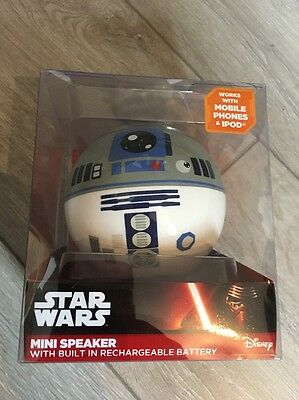Star Wars Mini Rechargeable Wired Portable Speaker R2D2