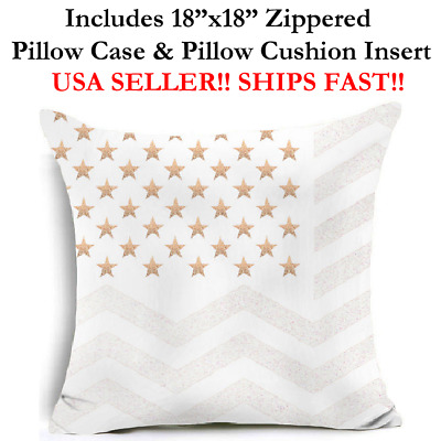 "18x18 18"" USA FLAG UNITED STATES OF AMERICA PATRIOTIC Throw Pillow Case &Cushion"