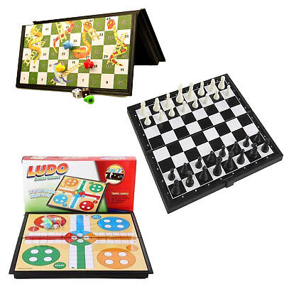 Magnetic Travel Board Games Set of 3 Chess Ludo And Snakes and Ladders  Game uk
