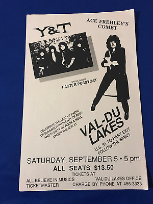 vintage 1987 Ace Frehley's Comet w/Y&T Faster Pussycat CONCERT POSTER Kiss 11x17