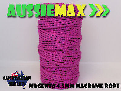 4.5mm Magenta Macrame Rope 100% Natural Cotton Cord 90 Meters