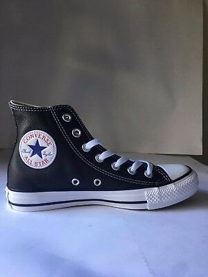 Converse All Star High Unisex Leather Trainers Black White- Size 9M/11W