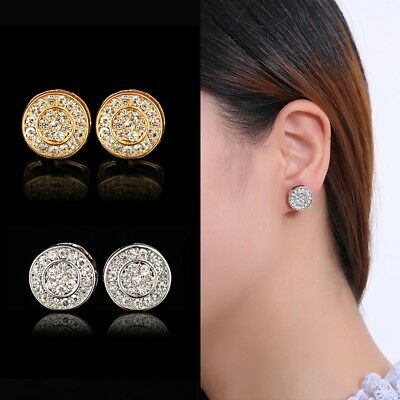 Fashion Elegant Gold Silver Rose Circle Crystal Stud Charm Earrings Jewelry Gift