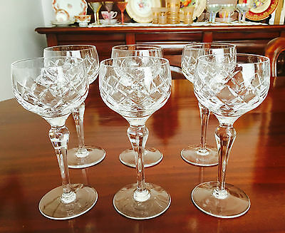 Stunning Set Of Six Tall Crystal Red Wine Glasses