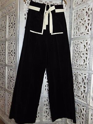 VINTAGE CHESSA DAVIS Black Velvet Cream Trim High Waist Flare Pants Slacks 6