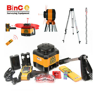 Rotating Rotary Laser Level Dual Axis Grade Electronic Leveling &Tripod &Staff