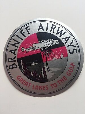 Vintage Airline Sticker / Luggage Label - Braniff Airlines Great Lakes to Gulf